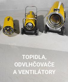 Topidla, odvlhčovače a ventilátory v půjčovně Stavebnin DEK